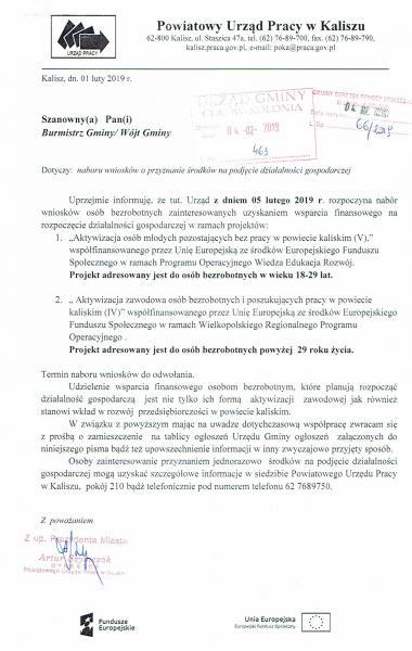 Powiatowy Urząd Pracy w Kaliszu informuje: