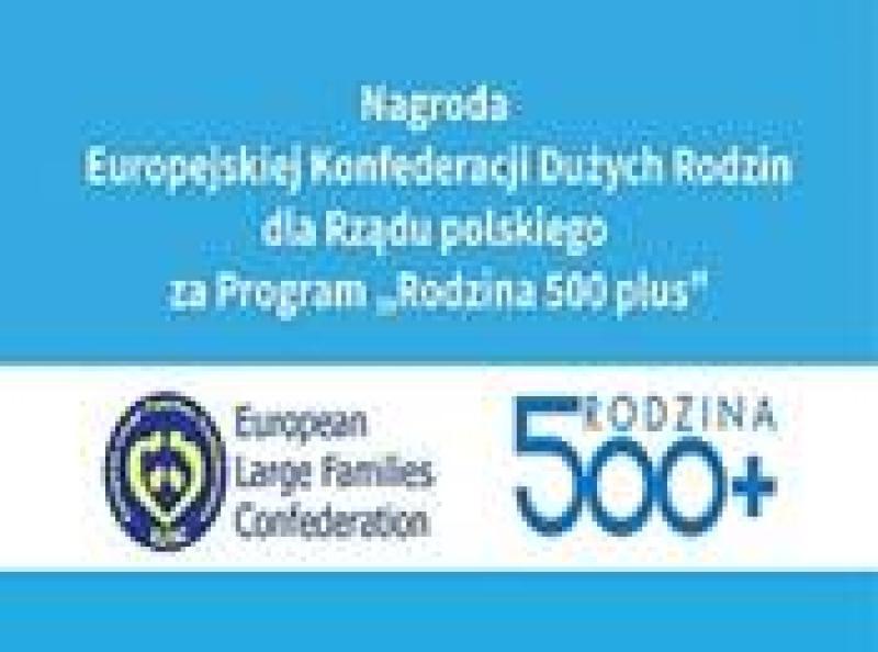 Nagroda dla rządu polskiego za program Rodzina 500 plus