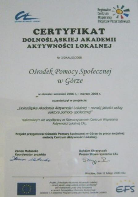 Certyfikat Dolnośląskiej Akademii Aktywności Lokalnej