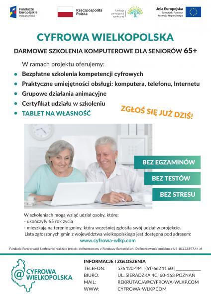 DARMOWE SZKOLENIA KOMPUTEROWE DLA SENIORÓW 65+