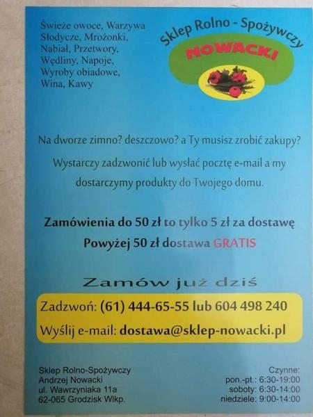 INFORMACJA SKLEP Rolno Spożywczy  Andrzej Nowacki  ul. Wawrzyniaka 11 a GRODZISK WIELKOPOLSKI