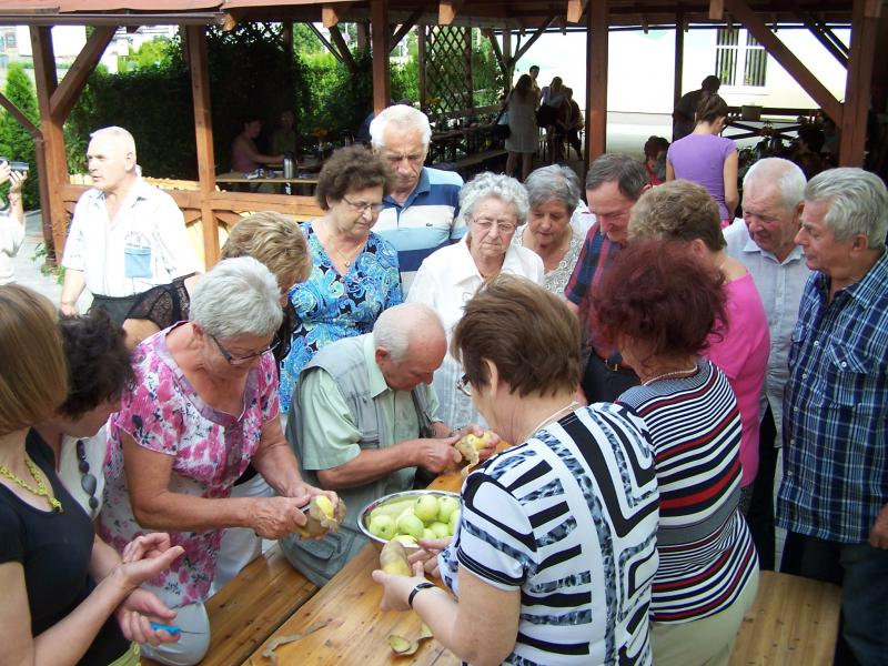 Zabawa seniorów pod altaną