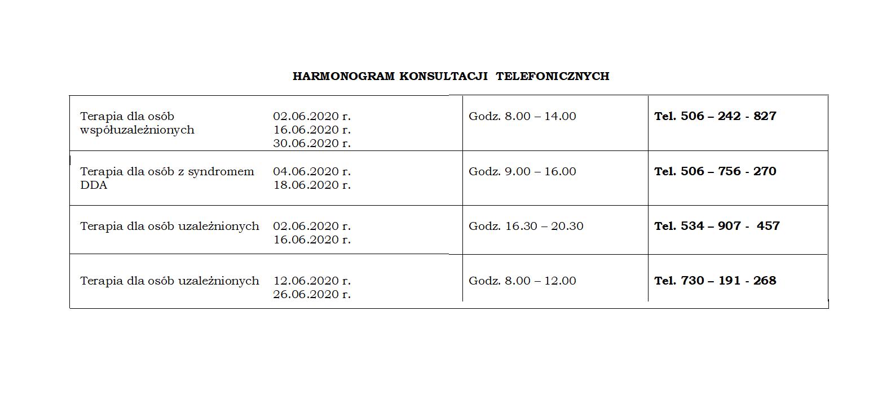 Konsultacje telefoniczne - czerwiec