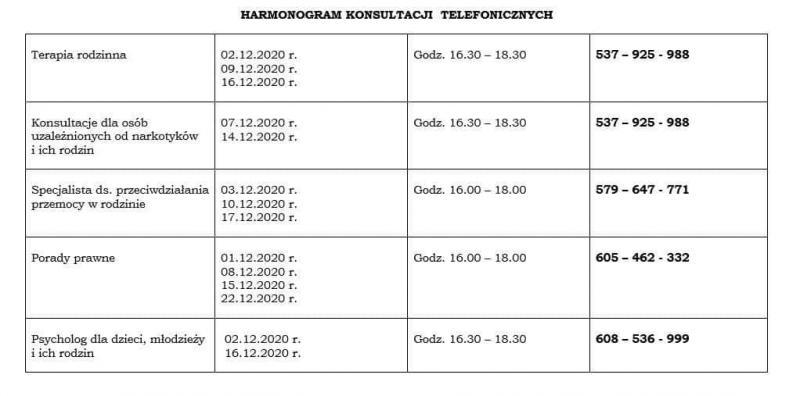 Harmonogram konsultacji telefonicznych - Grudzień 2020. 1