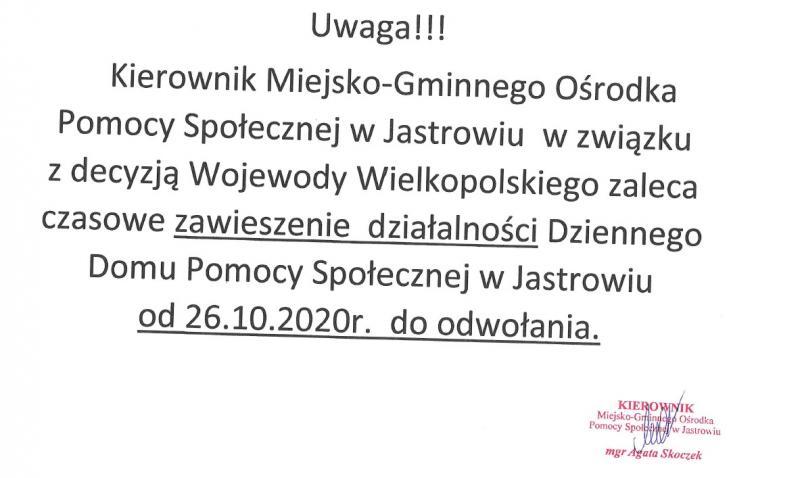 Zawieszenie działalności Dziennego Domu Pomocy Społecznej w Jastrowiu