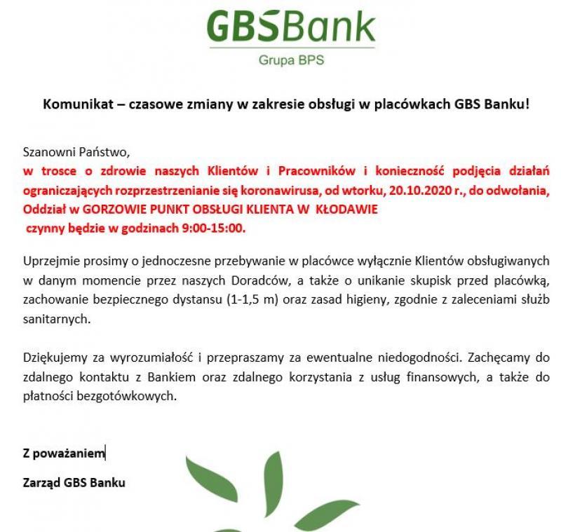 Zmany godziny otwarcia punktu bankowego BGS w Kłodawie