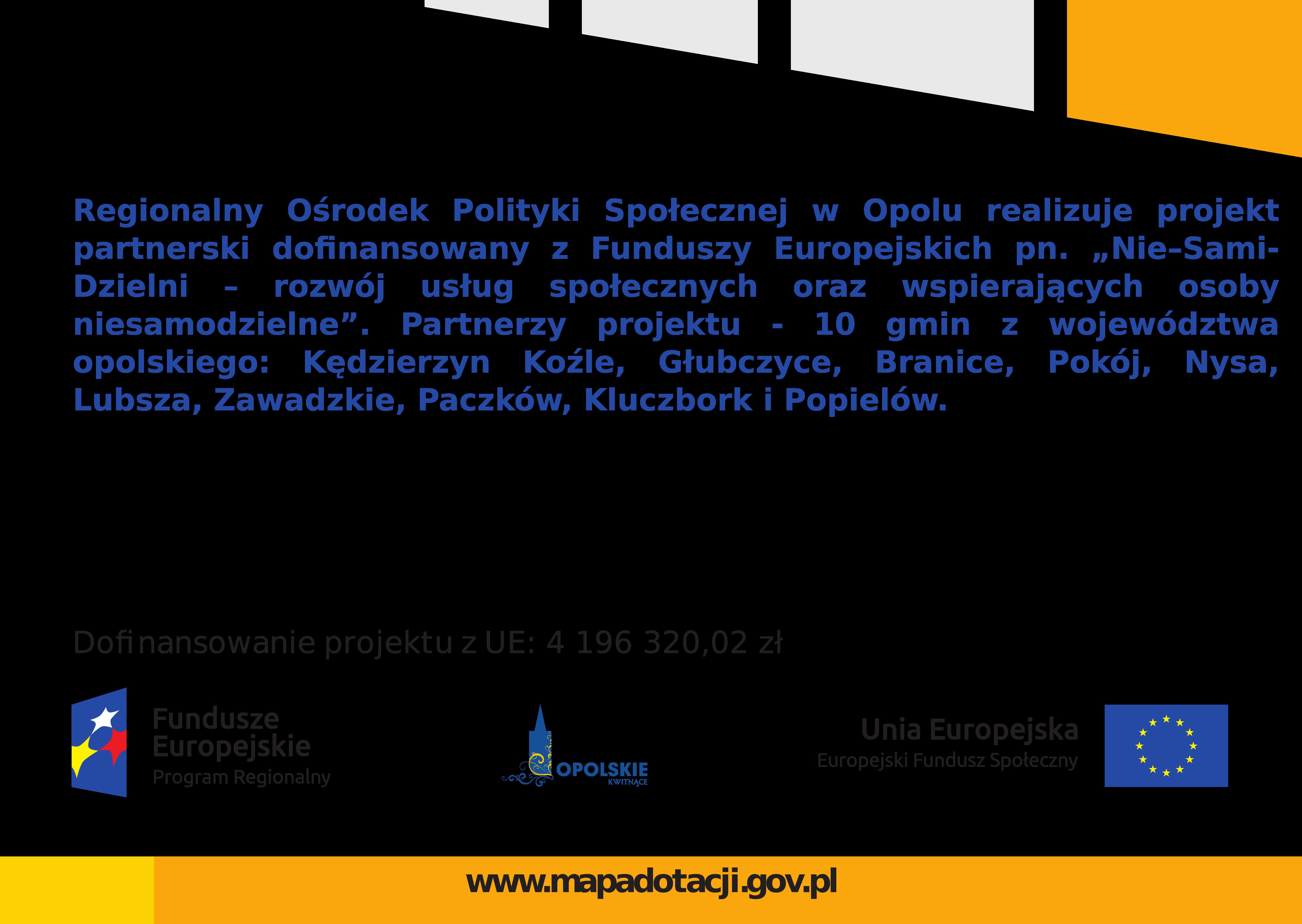Plakat Nie- Sami- Dzielni- rozwój usług społecznych oraz wspierających osoby niesamodzielne.