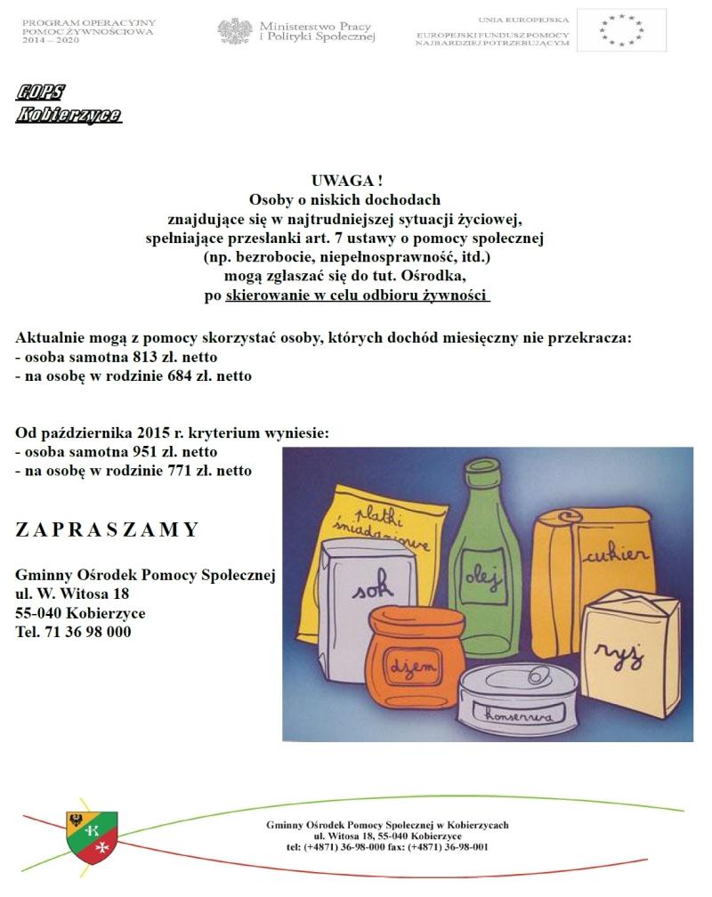 Program Operacyjny Pomocy Żywnościowej 2014 - 2020. Podprogram 2015 - PODGLĄD GRAFICZNY