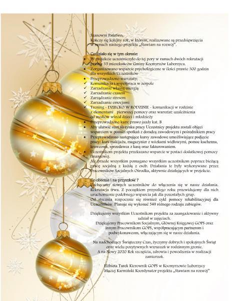 Życzymy dobrych i spokojnych Świąt .