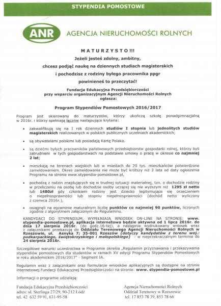 Program Stypendiów Pomostowych 2016/2017 dla maturzystów.