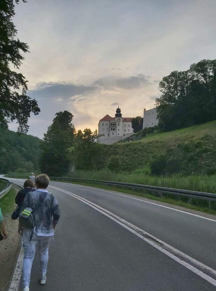 Seniorzy idący ulicą   do Zamek w Piaskowej Skale.