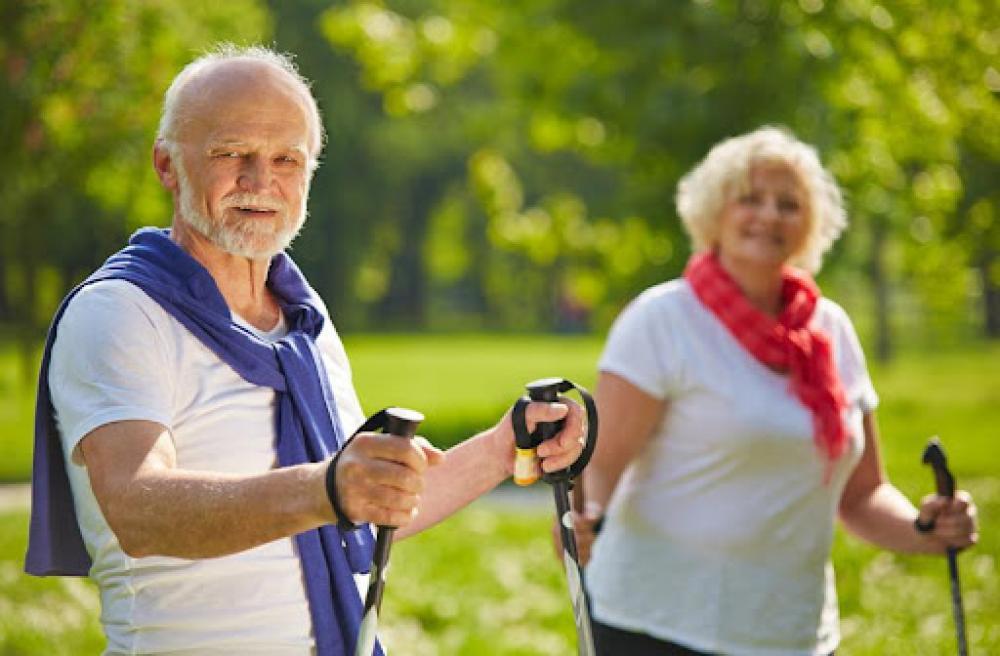 Kobieta i mężczyzna (seniorzy) w parku idący z kojami Nordic Walking