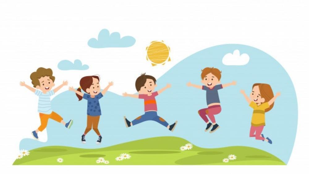 obrazek przedstawia pięcioro radosnych dzieci na łące