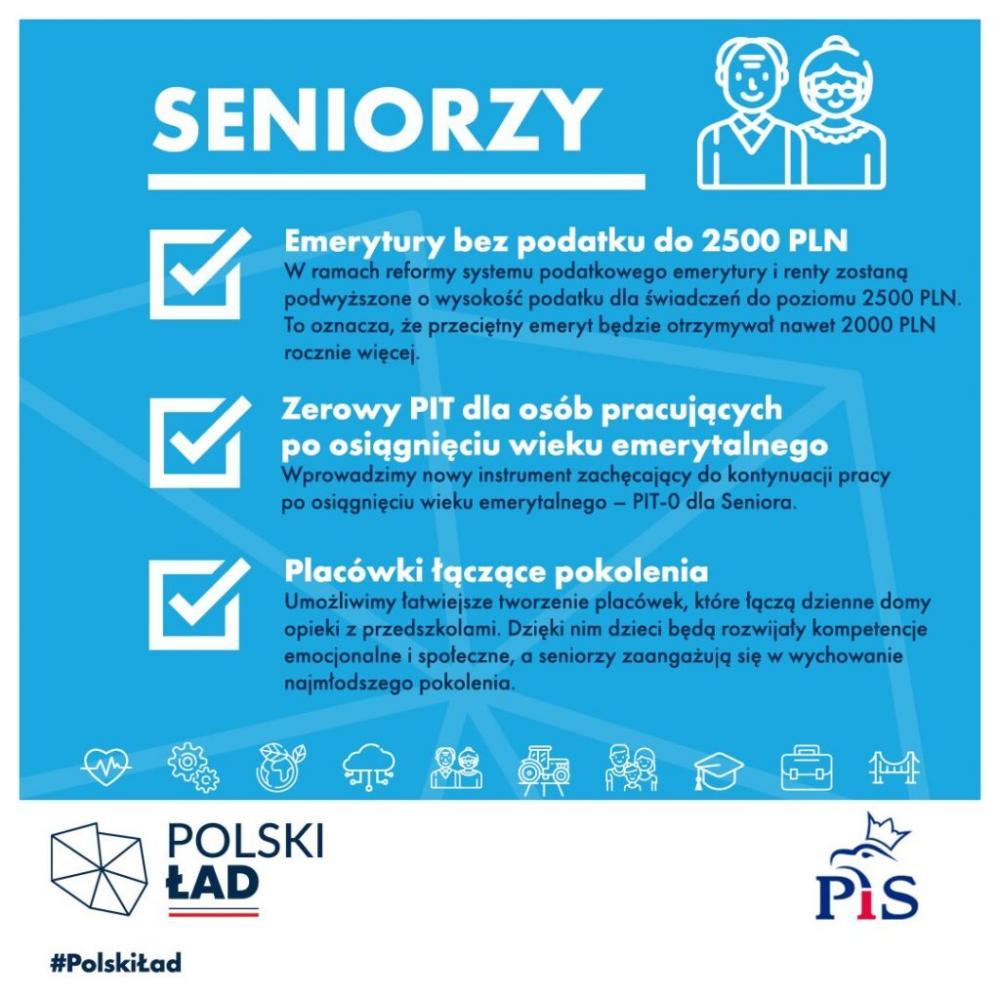 Plakat dotyczący emetyry bez podatku. Polski Ład. Program rządowy.