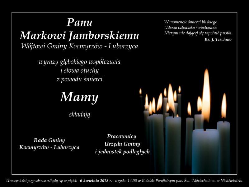 Kondolencje dla Wójta Gminy Kocmyrzów - Luborzyca