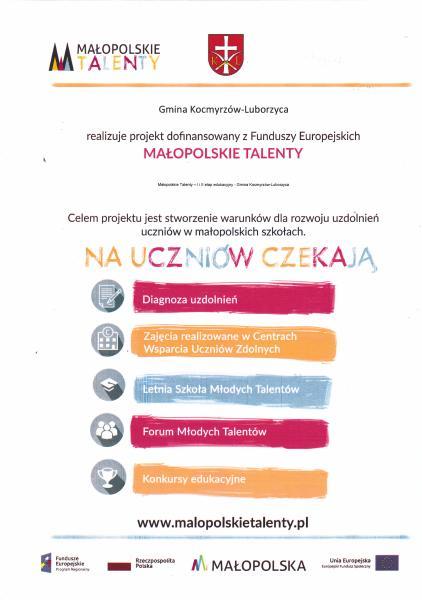 Małopolskie Talenty - I i II etap edukacyjny - Gmina Kocmyrzów-Luborzyca