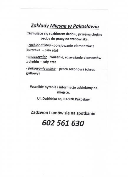 Informacja - oferta praca