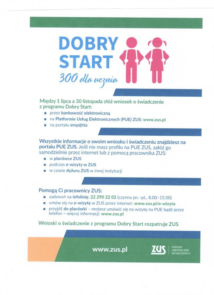 Informacja Dobry start 300 dla ucznia