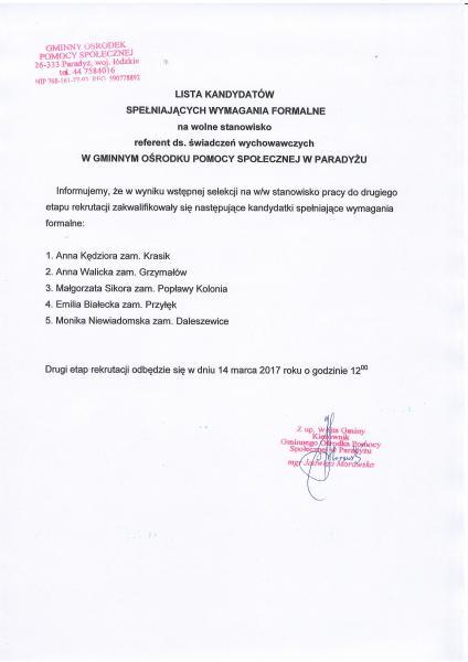 Drugi etap rekrutacji na stanowisko