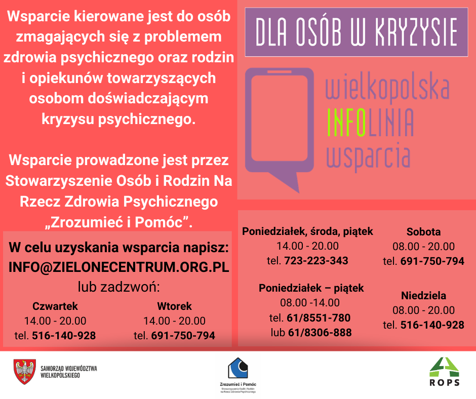 Informacja dla osób w kryzysie psychicznym