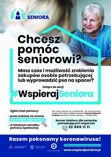 Chcesz pomóc seniorowi? - plakat informacyjny