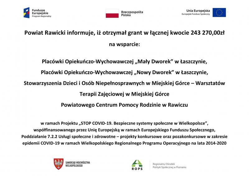 Projekt pn. STOP COVID-19. Bezpieczne systemy społeczne w Wielkopolsce.