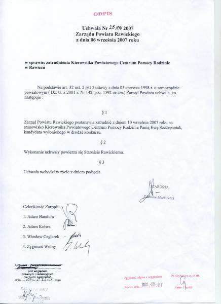 Uchwała Nr 25/134/2007 Zarządu Powiatu Rawickiego z dnia 06.09.2007r. w sprawie zatrudnienia Kierownika PCPR w Rawiczu.