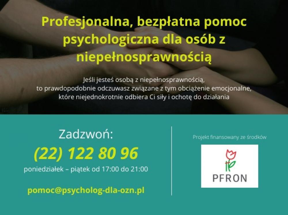 Zdjęcie dot. profesjonalnej pomocy psychologicznej dla osób z niepełnosprawnością