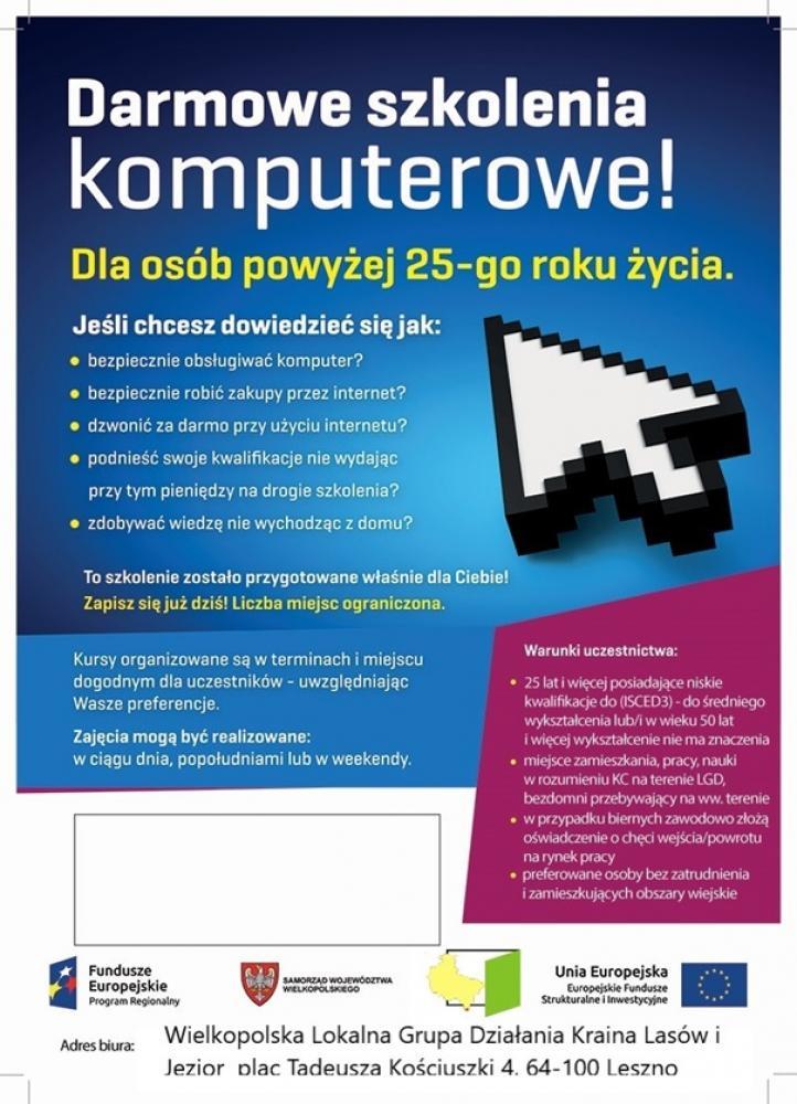 Plakat - darmowe szkolenia komputerowe