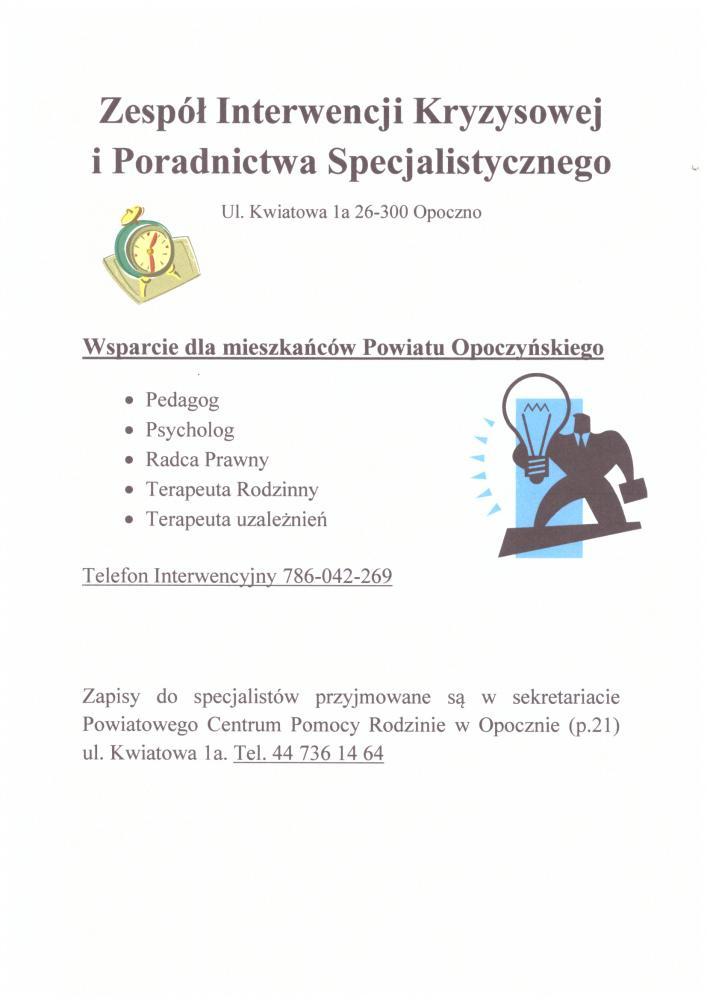 Plakat informujący o rodzaju wsparcia, jakie mogą uzyskać osoby z Zespołu Interwencji Kryzysowej i Poradnictwa Specjalistycznego w Opocznie