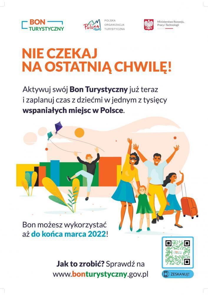 plakat promujący bon turystyczny