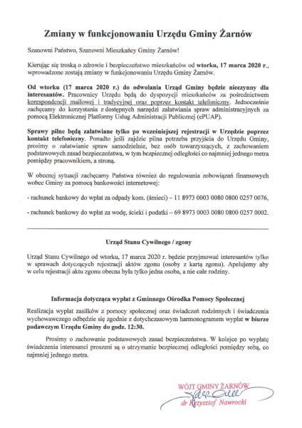 Zmiany w funkcjonowaniu UG w Żarnowie