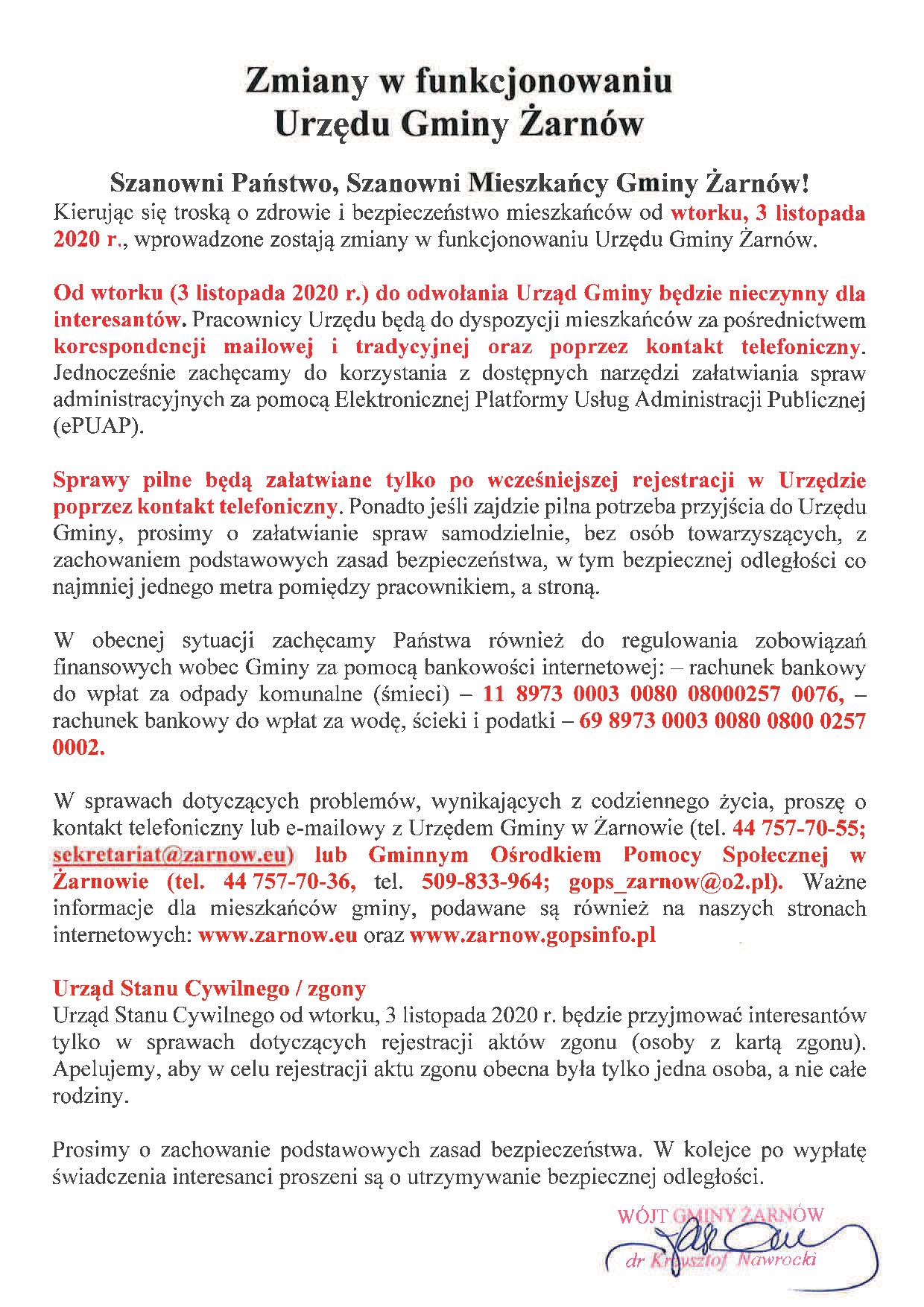 Zmiany w funkcjonowaniu Gminnego Ośrodka Pomocy Społęcznej w Żarnowie