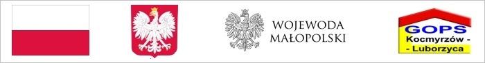 Logo flaga i herb PL, wojewoda małopolski i logo gops